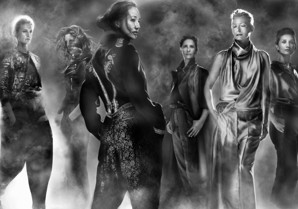 Haider Ackermann, from left to right: Alexandra Sandberg, Savanna Widell, Harumi Klossowska De Rola, Dina Haidar, Tilda Swinton, and Louise Neri