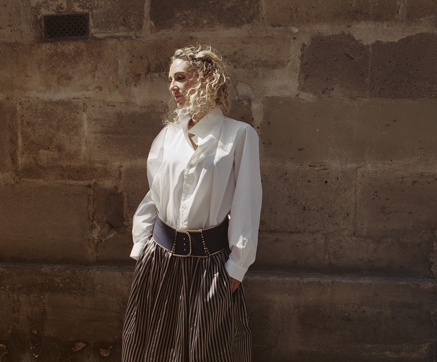 "Perrine Deprez Schmacher in ""LY"" shirt, ""Zannouba"" belt and ""Amine skirt"